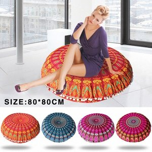 Large 80*80cm Mandala Floor Pillows Bohemian Meditation Cushion Cover Round Pouf Retro Boho Tapestry Cover Case D90808 4085#
