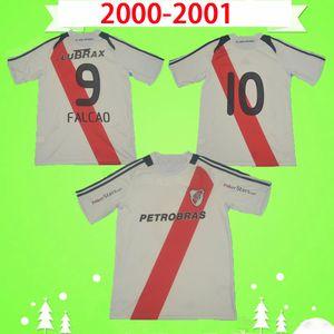 2009 2010 RIVER PLATE 레트로 축구 유니폼 홈 화이트 빈티지 축구 셔츠 클래식 Maillot de foot # 9 FALCAO