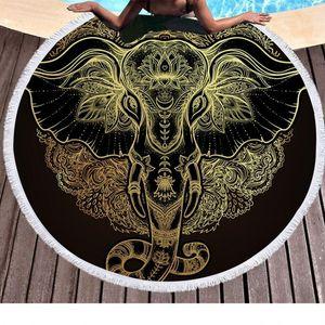 Vintage Elephant Bohemian Tassel Tapestry Fashion Style Round Beach Towel Soft Superfine Fiber Blanket New 29px Ww