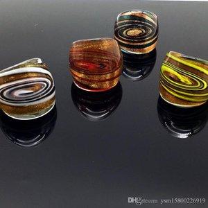 Il commercio all'ingrosso libero caldo 4 pezzi elicoidali oro MURANO Glass anelli di Murano, Moda Murano Anelli 17-19mm