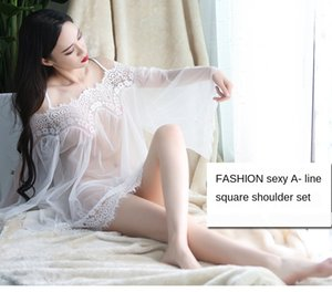 New Underwear pajamas shoulder strap pajamas sexy strapless lace nightdress suit perspective mesh straight sexy underwear