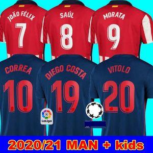 erkekler + çocuklar 20 21 JOAO FELIX ev 2020 2021 Koke SAUL GODIN Atletico futbol Madrid forması kitleri set de üniforma beyaz Futbol Formalar kırmızı