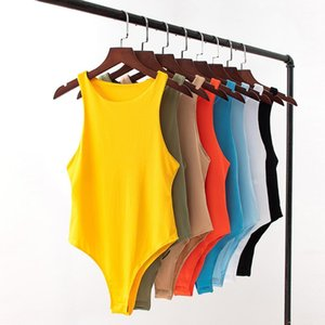 Botão Womens Macacões Verão Ativo mangas O pescoço Mulheres macacãozinho Ballet Casual Sólidos roupa colorida 8 cores