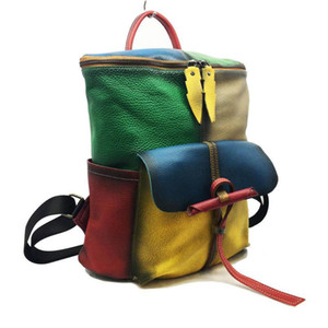 ABER Hand Painted 2020 New First Layer Cow Leather Backpack Leisure Large Capacity Women Bag Retro High Quality Travel Bags