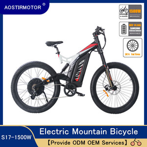 Aostirmotor Electric Mountain Bike Fat Newee Electric Bicycle Beach Cruiser Al Aley Bike 1500W Ebike 48V 14.5Ah Batería de litio