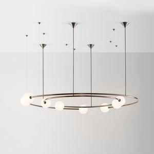 LED Metal Glass Ring Chandelier Living Room Dining Room Bedroom Pendant Light Home Decor Ceiling Lamp Fixture PA0169