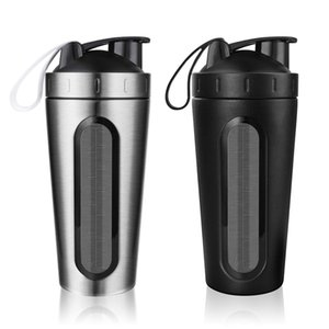 2Pcs Protein Shaker Bottle, Stainless Steel Sports Water Bottle Shaker Cup, Leak Proof, BPA Free Black & Silver