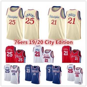 Philadelphia76ersJersey Joel 21 Embiid Ben 25 Simmons Al Horford Allen 3 Iverson City Cream Edition Basketball Jerseys_cone