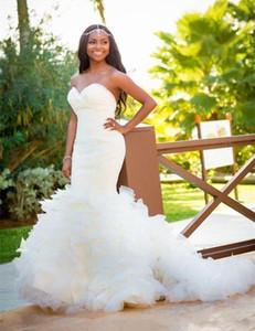 2020 Romantic Design Mermaid Wedding Dresses Sweeetheart Ruffle Tulle Bridal Gowns Sweep Train Zipper Back Custom Size