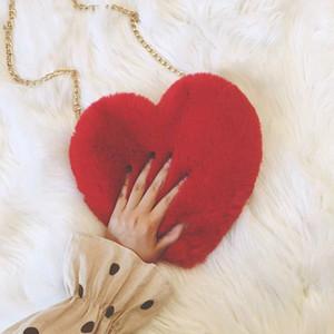 겨울 가짜 모피 심장 가방 여성 2020 레이디 핸드백 어깨 가방 가와이이 여자 큰 사랑 메신저 크로스 바디 Bolso