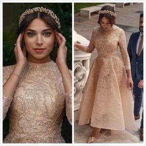 2020 Arabic Aso Ebi Pink Muslim Lace Wedding Dresses Beaded A-line Bridal Dresses Vintage Sexy Wedding Gowns ZJ232