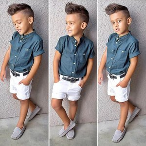 2Piece Toddler Boys Summer Clothes Kids Wear Fashion Blue Short Sleeves Baby T-shirt+White Shorts Children Clothing Sets