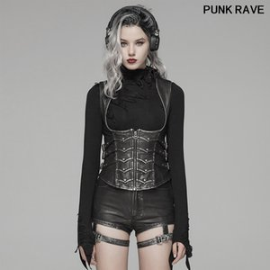 Gothic military PU Leather Handsomer Personality Style waistcoat Punk Sexy slim Shapewear Women Short Vest PUNK RAVE WY-1033MJF