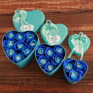 День матери в форме сердца мыло Цветок Подарочная коробка Ароматические ванны для тела Лепестки цветов Мыло Сердце Декор Свадьба Искусственный цветок розы DH1275 T03