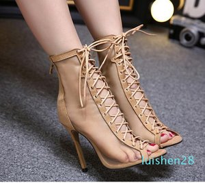 2017 meshy breathable lace up sheos sexy women high heels peep toe ankle bootie beige black size 35 to 40 l28