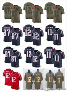 Erkekler Kadınlar Gençlik New EnglandvatanseverlerJersey 12 Tom Brady 87 Rob Gronkowski 11 Julian Edelman Futbol Formalar beyaz Kırmızı Lacivert Rush