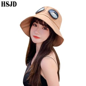 Women's Hat Spring Summer Wide Brim Foldable Bucket Hats With Sunglasses Women Summer Sun Caps Female Panama Hat Fisherman's