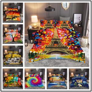 열대 수채화 잉크 침구 세트 트윈 킹 사이즈 럭셔리 베개 케이스 어린이의 침실 기하학적 옥양목 이불 커버 200x200 크기