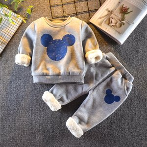 Baby Boys Girls Winter Clothing Set 2020 Toddler Kids Miki Outfits Children Fleece Warm Cotton Mouse Winter Clothes Costume Suit