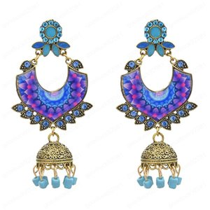 Indian Style Bells Drop Dangle Jhumka Earrings with Colorful Beads Classic Vintage Turkey Gold Tassel Earrings