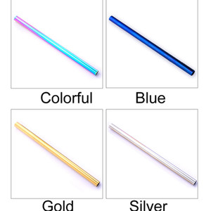 12*215mm Big Size Multi-Colors Straight and Bend Stainless Steel Straw Reusable Juice Party Bar Accessories Drinking Straws DH0223-3 T03