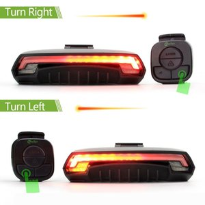 Sports Tail light Bike Rear Light Wireless Rechargeable Remote Control Waterproof LED Safety Light with 7 Red Yellow Lights Mode of Turni
