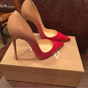 transporte livre salto agulha Marca parte inferior vermelha sapatos Mulher Vestidos Sexy Sandálias de salto alto sapatos de casamento dedo apontado Moda Único salto alto