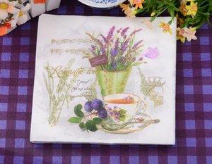 Monouso Lavanda Narcissus in legno di stampa Pulp Paper Napkin cucina Tovaglioli di compleanno per feste sacco DEC080 100pcs /