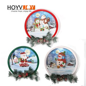 HOYVJOY Christmas Electric Wreaths Santa Claus Wreath Led String Light New Year Celebration Fairy Lights Home