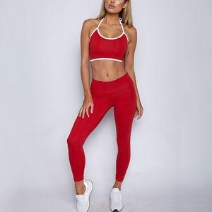 Yomay Fitness Halter Bra Pants Set Gym Workout Sexy Sports Wear Leggings Running Clothing 2Pcs Women Yoga Sets