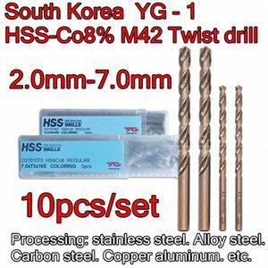 Made in Korea YG-1 D2101 2.0-7.0mm 10pcs set HSS-C08% M42 Twist drill Processing: stainless steel. Alloy steel. Aluminum etc. FJ80#