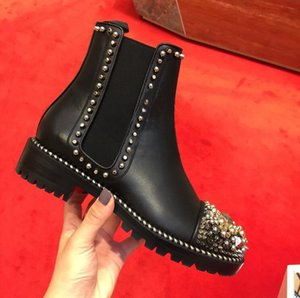 sslouboutinCL2018 Brand Quality New Fashion Rivets Red Bottom Leather Women High Top Sneaker Luxury Designer Ankle Boots