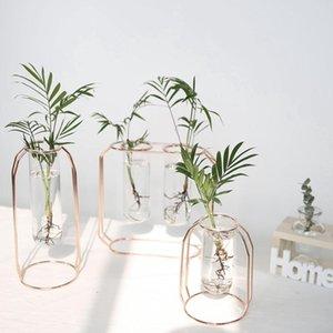Nordic de Ouro Vaso de vidro Ferro hidropônico Plant Flower Vase Tabletop Coffee Shop Office Home Acessórios Decoração moderna