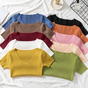 Real Photos Summer Short Sleeve V-neck Cropped Slim T-shirts Girls Vintage Simple Soft Solid Tees Tshirt Crop Tops For Woman