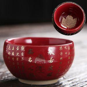 Sutra del corazón taza de té rojo Negro Color Azul Personal Zen Buda juego de té Copa Premium Home Vida accesorios del té