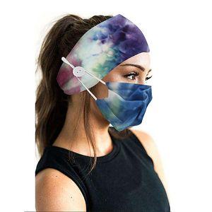 New Creativity Camouflage Hair Band Mask Set Button lanyard Dustproof Anti-fog Breathable Antiperspirant Fashion Masks For Women LJJA5970
