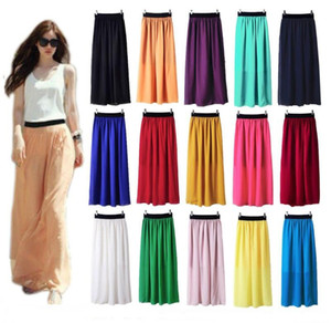 Wholesale-Casual Women Double Layer Chiffon Pleated Elastic Waist Skirt Free shipping and Drop shipping XJ017