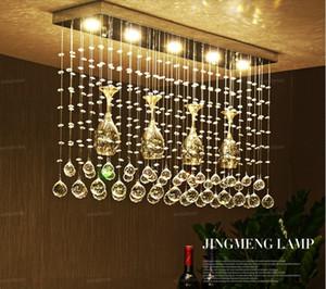 Kreative Rechteckige Weinglas Kristall führte Kronleuchter Beleuchtung für Esszimmer Schlafzimmer Theke Dekoration