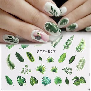 Water Nail Decal and Sticker Flower Leaf Tree Green Simple Summer DIY Slider for Manicure Nail Art Watermark Manicure Decor