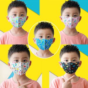 10Pcs 4-12 Years Old Kid Face Masks Dust Breathing Ear Loop Cute Dinosaur Printed Party Mask Ice Silk Fashion 3D Cartoon Washable Face Cover
