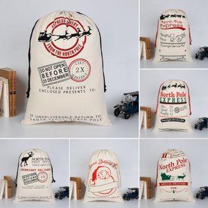 2018 Christmas Sacks Stocking Cotton Xmas Gift Bag Santa Sack Toy Hot New Christmas Gift Bag Printed Drawstring Holders