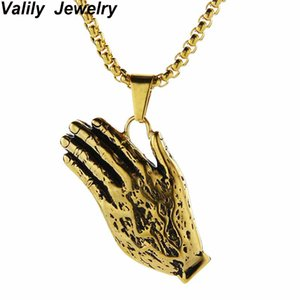 EdgLifU The Praying Hands Pendants & Necklaces Black Gold Color Stainless Steel Hip Hop Prayer Jesus Chain Men Jewelry