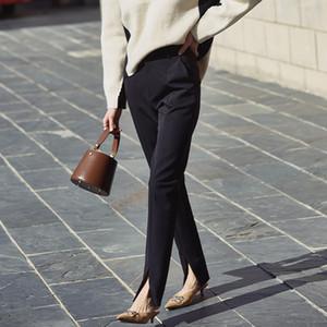 AEL весна Новый дамы черный карандаш брюки низ расщепленные повседневные брюки Простые тонкие эластичные длинные брюки для женщин