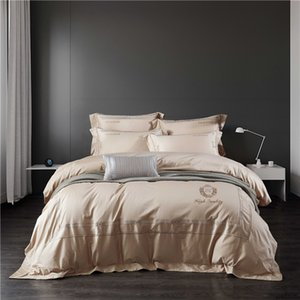 Gold embroidery bedlinen Bedding Set King Queen Size Bed Linen egyptian cotton Duvet Cover Bedspread Set Pillowcases