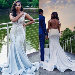 Newest Luxury Plus Size Mermaid Wedding Dresses V-neck Beaded Crystal Sexy Backless Beach Wedding Dress Ruched Satin Vestido De Noiva