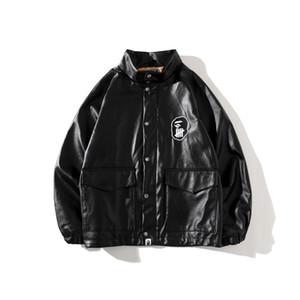 Bape의 패션 스타일 남성 가죽 남성 여성 높은 품질 자켓 남성 힙합 의류 가죽 자켓 블랙 크기 M-2XL