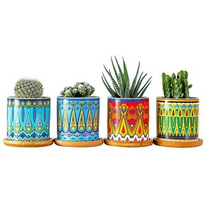 1 Set Of Flower Pot Succulent Planters Mini Ceramic Flowerpot Mandala Pattern Bonsai Plant Pots For Home Office Seedsplants Y200709