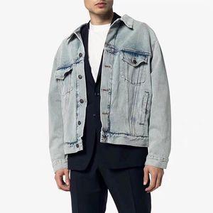 2020 Europe Autumn Winter Back Paris Embroidery logo Print Washing Old Men women Long Sleeve Denim Jeans Jacket Vintage Streetwear Coat