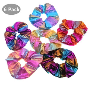Metallisch Glitter Scrunchies für Frauen-Haar-elastischer Haar-Ropes Zubehör Polyester-Haar-Bänder Kopfbedeckung 42pcs / lot