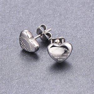 Silver Brand New Fashion Beautiful Earrings Jewellery Earrings Stud Heart Shaped Lady Earrings Love Ear Studs for Women Jewelry